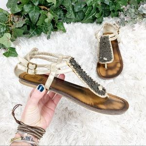 Faryl Anthro Farylrobin Gladiator Sandals 8.5 Gold